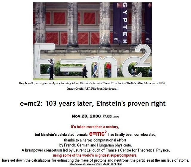 e=mc2: 103 years later, Einstein's proven right
