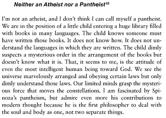 Neither an Atheist nor a Pantheist.