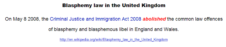 Blasphemy law in the United Kingdom abolished only very recently, in 2008