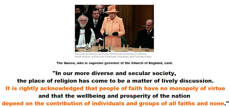 Religious do not have monopoly on virtue, Queen tells synod.