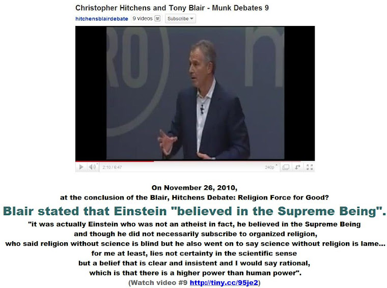 Blair stated that Einstein believed in the Supreme Being.