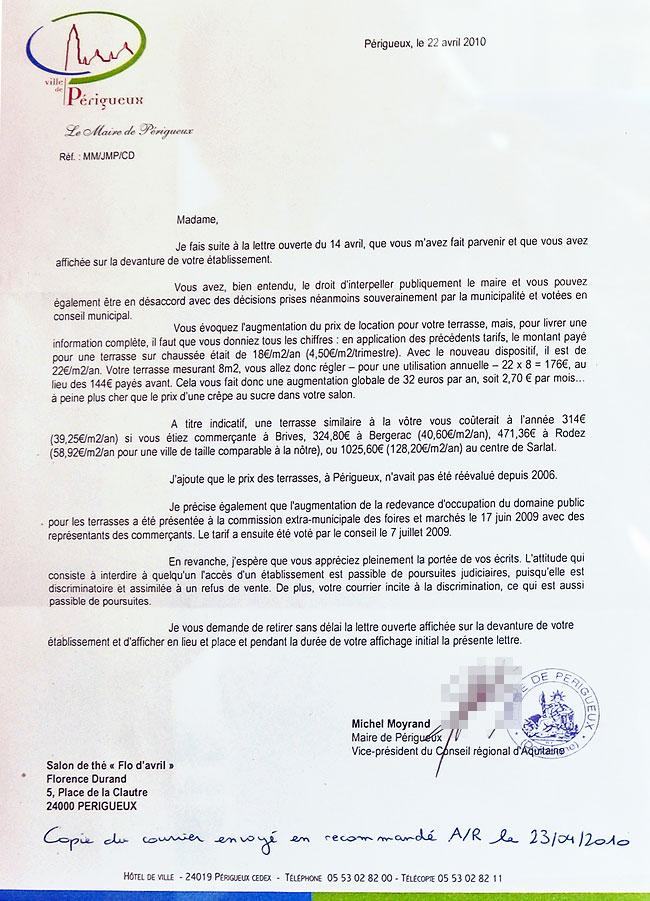 Lettre de Michel Moyrand adressée à Florence Durand