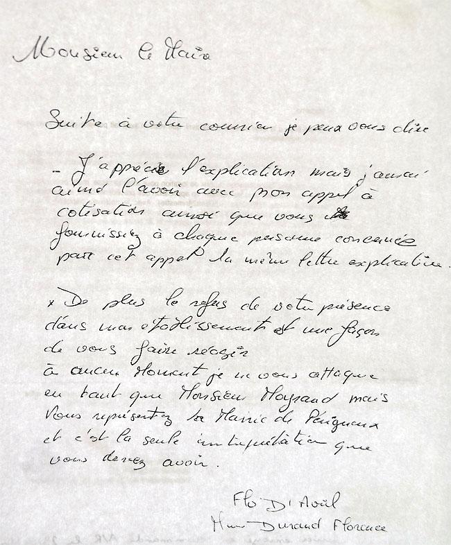 Lettre de Florence Durand adressée à Michel Moyrand