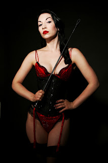 Marlo Marquise in blood red corset
