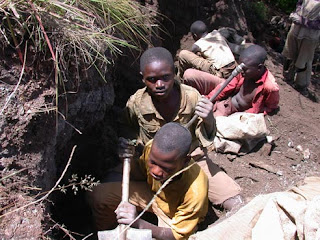 Children digging for ore in one of the Congo's mines.