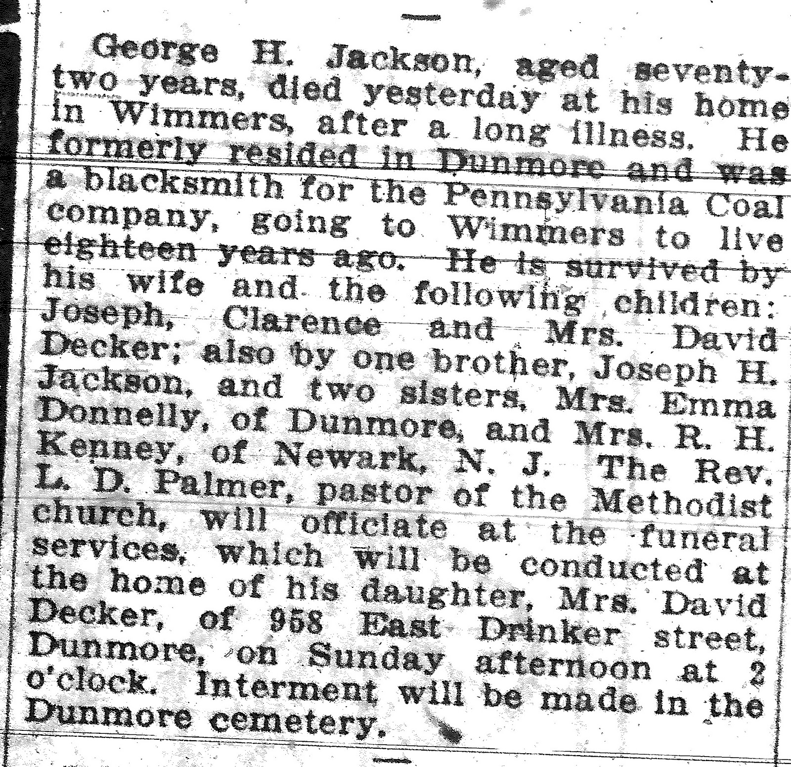 Obituary for George H Jackson