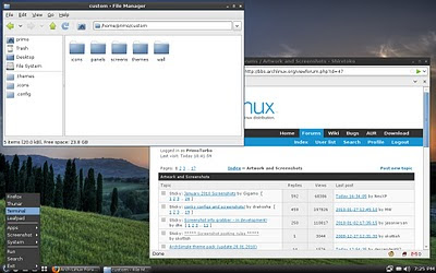 ArchLinux Desktop Screenshot Openbox, ADeskBar, LXPanel Dirty