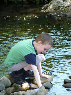 Christopher in the river at Dunsop Bridge