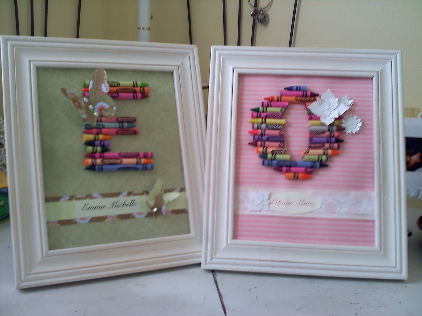 lastly take the glass out of the front of the frame and put your 3 d crayon letter art work into the frame heres a photo of both the ones i made
