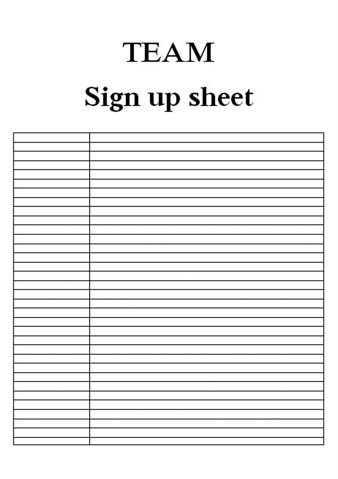 Comprehensive image with printable sign up sheets