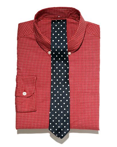 polka dotted ties. shirts and polka dot ties.