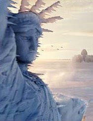 Lady Liberty frozen over from Day After Tomorrow