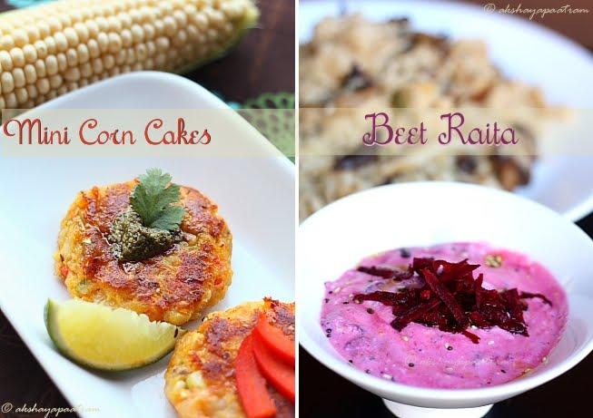Corn cakes - Beet raita