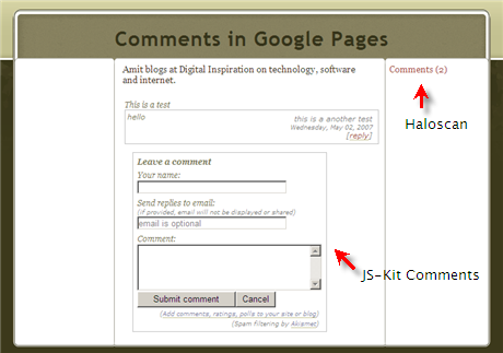 Integrate Visitor Comments in Google Webpages