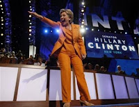 Hilary Clinton and her orange pantsuit