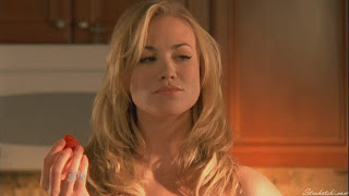 Yvonne Strahovski and a strawberry
