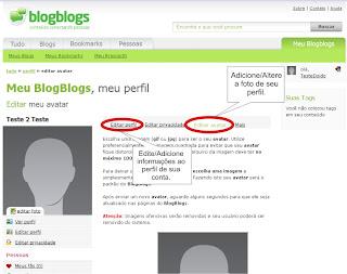 Como criar conta no Blogblogs - Modificando seu Perfil