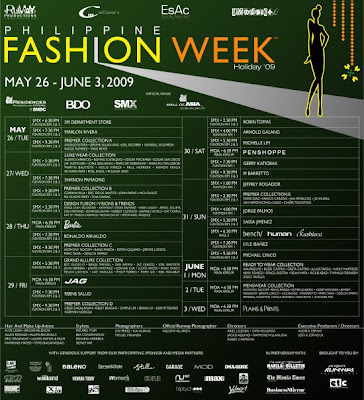 Philippine Fashion Week Holiday 2009 Show Schedule May 26-June 3, SMX Convention Center & SM Mall of Asia
