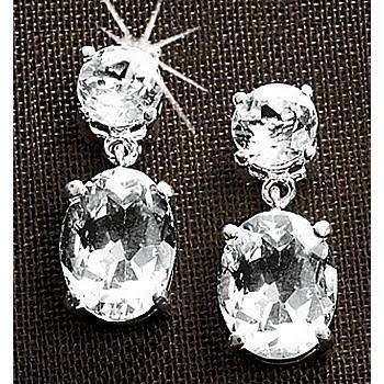 White Topaz Oval Drop Earrings