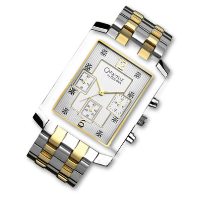 Two Tone Stainless Steel Rectangular Chronograph Watch