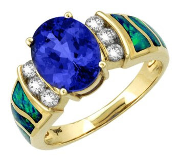 Asher - Gold Tanzanite, Australian Opal & Diamond Ring
