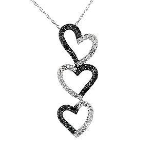 Black and White Diamond Triple Heart Drop Pendant