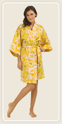 Mellow Yellow Wildflower Sateen Kimono Robe