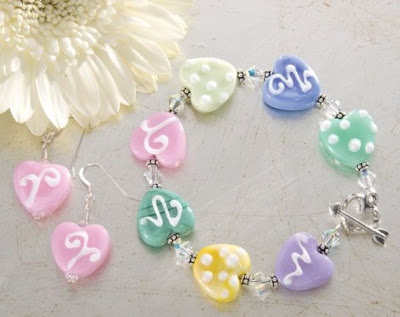 Pastel Glass Heart Bracelet