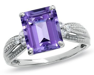 Amethyst and Lab-Created White Sapphire Ring