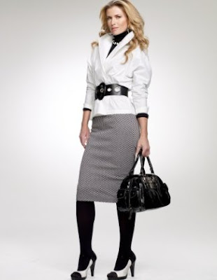 Ponte Knit Herringbone Pencil Skirt
