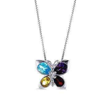 Blue Topaz and Garnet Butterfly Pendant