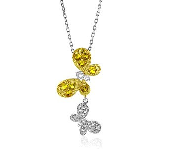Yellow and White Sapphire Butterfly Pendant