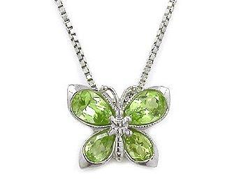 Sterling Silver Peridot Gemstone Butterfly pendant