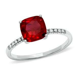 Cushion-Cut Lab-Created Ruby Ring in White Gold