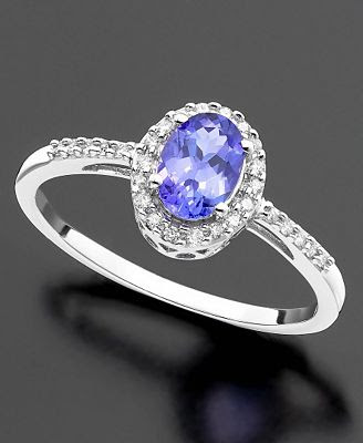 White Gold Ring Tanzanite and Diamond