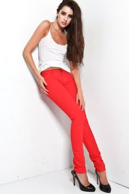 Women's Skinny Denim - Red