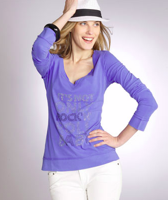T-shirt cotton rhinestone message