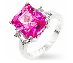 Silvertone Pink Emerald-cut Cubic Zirconia Ring