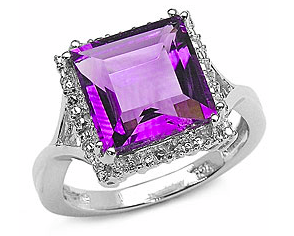 Sterling Silver Genuine Amethyst Ring