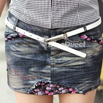 Women Floral Pattern Stitching Mini Jean Skirt