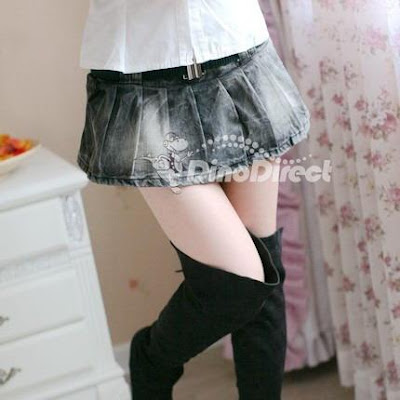 Fashion Women Pleated Denim Mini Skirt