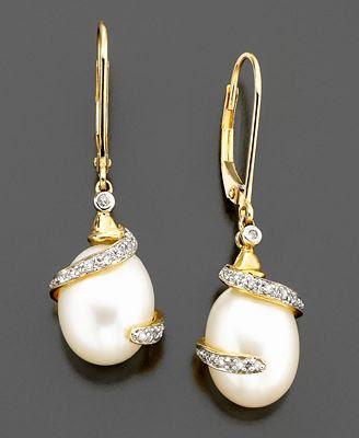 Gold Cultured Freshwater Pearl Diamond Earrings