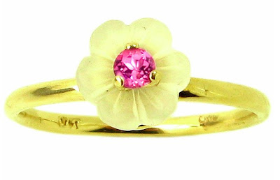Yellow Gold Quartz Exotic Blossom and Tourmaline Ring