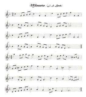 Partitura del Minueto de Bache en Fa Mayor para instrumentos de viento metal, viento madera y cuerda en clave de sol para flauta, violin, trompeta, saxo tenor, saxofón alto, soprano, oboe, fliscorno, baritono...
