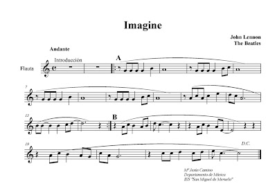 Diegosax Partituras Imagine de John Lennon partitura para flauta dulce y acordes Imagine easy flute sheet music Partituras de Imagine para otros instrumentos