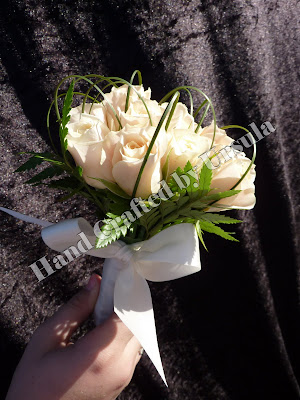 Cream Roses With Spear Grass Bouquet - Throw Away Side View