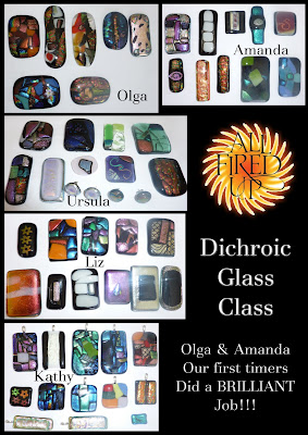 Dichroic Glass Jewellery Class - After the firing
