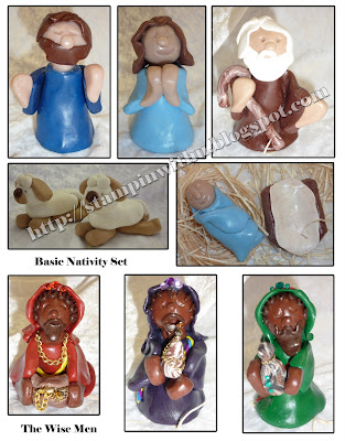 Handmade Nativity Sculpty Set