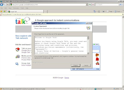 Completing the installation of Google Talk