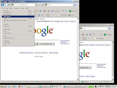Starting a new IE8 browser session to login to a new Gmail account.